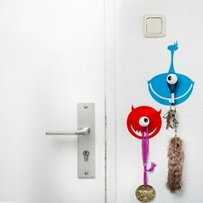 Children's COAT HOOKS - ALIEN MONSTERS Wall Art Sticker & 2 wood hooks HOOKLYS