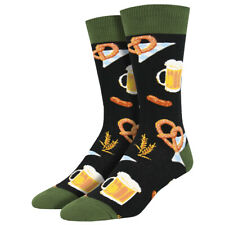 Socksmith Men's Crew Socks German Octoberfest Beer and Pretzels Novelty Footwear