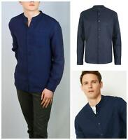 M&S Marks and Spencer Mens Navy Long Sleeve Linen Shirt