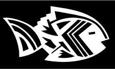 WHITE Vinyl Decal Aztec Fish design Native American sticker Indian hunt fun