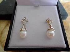 Earrings pierced  pearl and paste stones -very pretty
