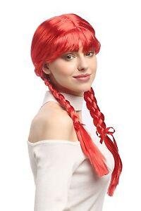 Perücke Damen Karneval Cosplay Fasching Zöpfe geflochten Schulmädchen Rot