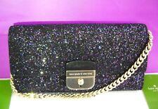 $229 Kate Spade Sunset Lane Milou Clutch Black Glitter Leather Wristlet Bag
