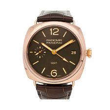 Panerai Radiomir 3 Days GMT Manual 47mm Rose Gold Mens Strap Watch Date PAM 421