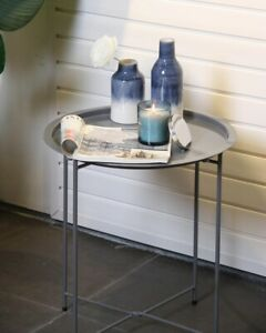 Metal Round Foldable Butlers Tray Top Side Table Living Room Lounge Decor Grey