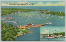 Put-in-Bay Harbor Ohio~International Peace Memorial~19140s Linen Postcard