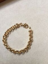 """.925 Sterling Silver, Gold Plated, Faceted Chainlink Bracelet, 33.9g, 7.5"""""""