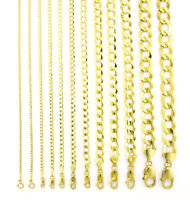 "REAL 14K Yellow Gold SOLID 1.5MM-12MM Cuban Curb Chain Link Necklace (16""- 30"")"