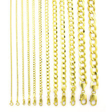 "Real 14K Amarillo Oro Macizo 1.5MM-12MM Collar Cadenilla Cubana enlace (16"" - 30"")"