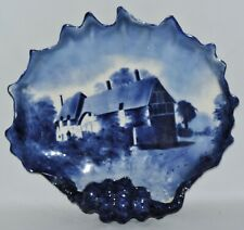 FLOW BLUE SHELL ENGLISH 1894 POTTERY  ARTIST SIGNED ANTIQUE