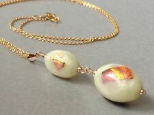 Vintage Deco Exquisite Oval Cream & Gold Foil Glass 14ct Rolled Gold Necklace
