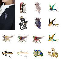 Fashion Animal Owl Bird Crystal Pearl Brooch Pin Women Costume Enamel Jewelry