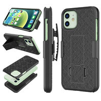 FOR IPHONE 12 PRO MAX SHELL HOLSTER BELT CLIP COMBO CASE COVER WITH KICKSTAND