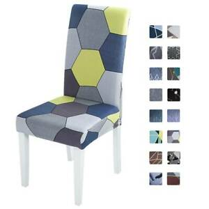 1/4PCS Geometric Stretch Dining Chair Seat Covers Party Slipcover Home Decor