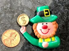 Vintage Leprechaun Pin Plastic St Patrick's Day W Lucky Gold Coin Cute