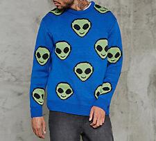 Alien ET Extraterrestrial Grey Green Space Star Being UFO Sweater Men Size SMALL