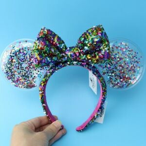 New Disney Parks Colorful Sequins bow Mickey Minnie Mouse Ears Headband