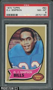 "1970 Topps Football #90 O.J. Simpson RC Rookie HOF PSA 8 "" NICELY CENTERED """