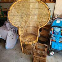 VTG PEACOCK CHAIR wicker high back fan rattan mid century modern PICKUP ONLY