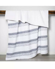Opalhouse Striped Quilt White Navy Blue Twin Blanket Oeko Tex India