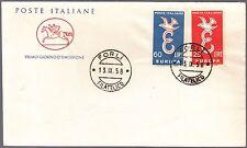 ITALIA BUSTA CAVALLINO  IDEA EUROPEA  EUROPA  F.D.C. 1958 ANNULLO FORLI' FDC