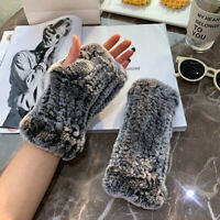 Womens Winter Real Rabbit Fur Golves Knitted Stretch Fingerless Mitten Gloves