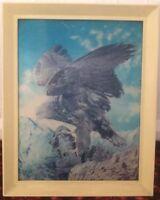 Vintage Large 3D Lenticular Picture of a Golden Eagle