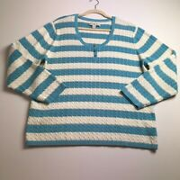 Tommy Hilfiger Women's Long Sleeve Cableknit Sweater 3X Plus Blue White Stripes
