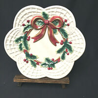 Vintage Fitz And Floyd Red Bow Hilly Berries Gold Trim Canapé Plate Ceramic