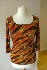 Red Barb Tiger Print Top de Versace Jeans Rrp £ 115.00 Talla 12-14