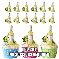 PRECUT White Wine Bottle Edible Cupcake Toppers Decorations Adult Party Birthday