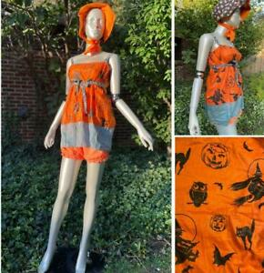 GREAT VINTAGE 1930s BABYDOLL PUMPKIN HALLOWEEN COSTUME : DRESS, BLOOMERS, BONNET