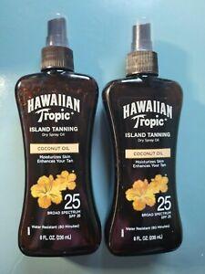 2 Hawaiian Tropic Island Tanning w/ Coconut Oils SPF 25 -8fl oz. Exp 01/2022