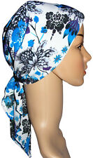 Chemo Head Scarf, suitable for hair loss. Padded, easy fasten.  Blue & white