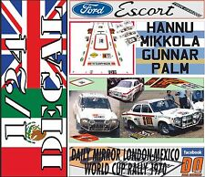DECAL KIT 1/24 FORD ESCORT TWIN CAM H.MIKKOLA R.LONDON-MEXICO 1970 WINNER (06)