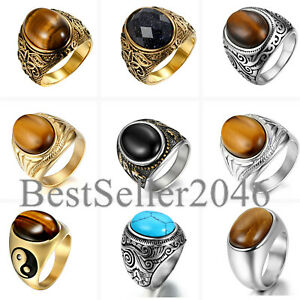 Mens Vintage Stainless Steel Oval Tiger Eye Stone Engagement Wedding Ring 7-14