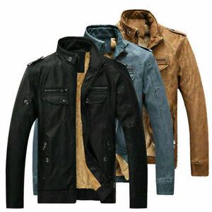 Men's Hooded Leather Jacket Warm Slim Fit Biker Jackets Motorcycle Zipper Coat