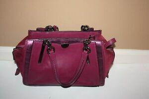 Coach Dreamer In Mixed Leather Metallic Details Handbag Berry/gunmetal 38847