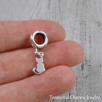 925 Sterling Silver Kitty Cat Dangle Bead Charm - fits European Bracelets