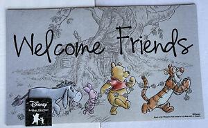 """Disney Winnie The Pooh Welcome Friends Rubber Doormat Floor Mat 18X30"""" New"""