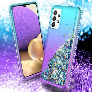 For Samsung Galaxy A12 A20 A32 A42 Liquid Glitter Bling Hybrid Phone Cover Case