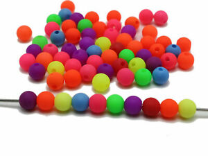 500 Mixed Neon Color Frosted  Round Acrylic Beads 6mm Smooth ball Beads