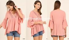 NWT UMGEE Rose Pink Crochet Lace Bell Sleeve Drapey Swing BabyDoll Tunic Top M