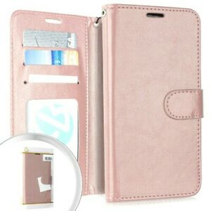 For Motorola Moto E6 - Rose Gold Leather Credit Card ID Wallet Pouch Case Cover