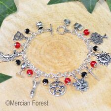 Wiccan Charm Bracelet - Gothic Tones - Ruby - Pagan Jewellery, Wicca, Witch