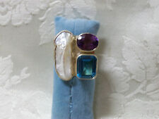 CHARLES ALBERT STERLING & PEARL AMETHYST BLUE TOPAZ RING
