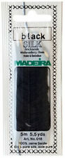 Madeira 100% PURE SILK Color BLACK, 4-Strand Hand Embroidery Thread 5.5 Yards