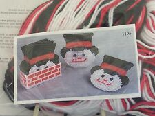 Snowman Plastic Canvas Coasters With Holder Kit # 1195 Design Works  New