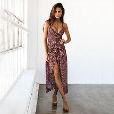 Women's Maxi Long Dress Holiday Summer Evening Party Beach Casual Spilt Sundress