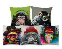 Retro CHIMP ORANGUTAN GORILLA Cushion Cover! Monkey Animal Paint Art 45cm Gift